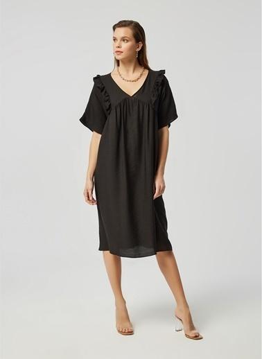 Monamoda A Form Robası Büzgülü Krinkıl Keten Relaxe Fit Elbise Siyah